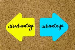 Message Disadvantage versus Advantage - stock photo