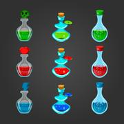 Set bottles with different potions Stock Illustration