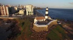 Aerial view of Farol da Barra (Barra Lighthouse) Stock Footage