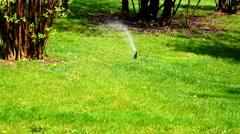 Water sprinkler showering grass in park Stock Footage