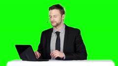 Call center operator. Green screen Stock Footage