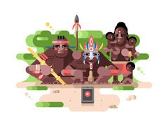 Aboriginal tribe and a smartphone - stock illustration
