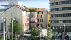 Streets and cozy buildings districts in Milan Italy Stock Footage