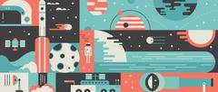Universe rocket design background concept Stock Illustration