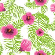 Tropical jungle palm leaves hibiscus pattern Stock Illustration