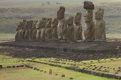 Moai Statues on the Coast of Rapa Nui Stock Photos