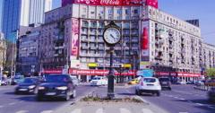 Bucharest, Romania -  Circa April2016: The Roman Square,4k, tilt Stock Footage