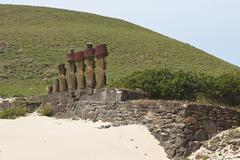 Ancient Moai statues Ahu Nau Nau on Easter Island Stock Photos