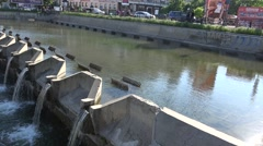 Bucharest, Romania, Union Square - Circa April 2016 - Dam on Dambovita river Stock Footage