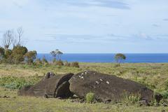 Broken Moai statue at the base of the extinct volcano Rano Raraku - stock photo
