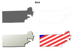 Kent County, Rhode Island outline map set - stock illustration