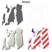 Newport County, Rhode Island outline map set Stock Illustration