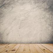 grunge cement wall and wood floor background and texture with space. - stock illustration