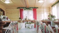 Wedding Honeymoon Table Rustic - stock footage