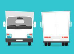 Set of cargo truck. Cartoon vector illustration. Moving van - stock illustration