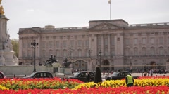 Buckingham Palace in Summer with Flowers Stock Footage
