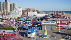 Aerial NYC Coney Island Park Arkistovideo