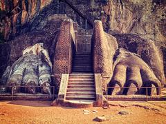 Lion paws pathway on Sigiriya rock, Sri Lanka Stock Photos