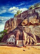 Lion paws pathway on Sigiriya rock, Sri Lanka - stock photo
