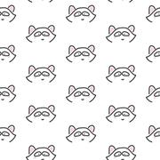 Raccoon stylized line fun seamless pattern for kids and babies - stock illustration