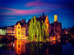 Bruges Brugge famous view, Belgium - stock photo
