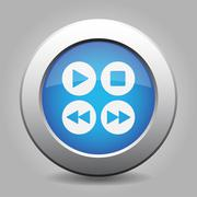 Blue metal button with music control buttons Stock Illustration
