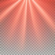 Red flare rays - stock illustration