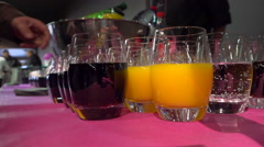 Drinks on a buffet table - Hand taking glass - Close up shot Stock Footage