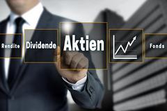 Aktien, Rendite, Dividende, Fonds (in german shares, dividend, return, fund)  Stock Photos