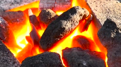 Coking coals burning in a forge Stock Footage