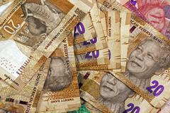 Scattered Twenty Rand South African Bank Notes - stock photo