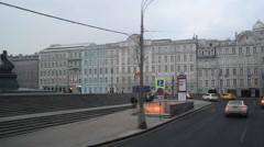Moscow, Russia - February 21.2016. traffic on Mokhovaya street on  cloudy day Stock Footage
