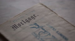 Old Mortgage Document - stock footage
