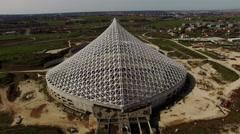 Vela sport village designed by Spanish architect Santiago Calatrava, drone N. Stock Footage