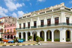 Colonial palace transformed into a hotel in Old Havana Stock Photos