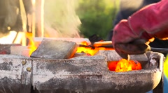 Pouring bronze 1 Stock Footage