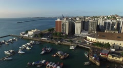 Aerial view of Salvador Marina in Bahia, Brazil Stock Footage