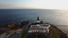 Aerial view of Farol da Barra Light House in Salvador, Bahia, Brazil Stock Footage
