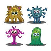 Set of cute cartoon monsters Stock Illustration