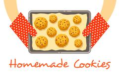 Hands hold a hot pan with fresh baked cookies - stock illustration