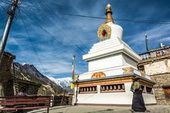 Buddhist stupa in Manang. Stock Photos
