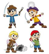 Cheerful pirates Stock Illustration