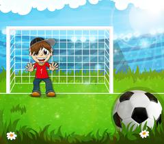 Goalkeeper is waiting for hitting the ball Stock Illustration