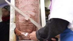 Turkish traditional fast food doner kebab Stock Footage