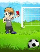 Referee shows a red card - stock illustration