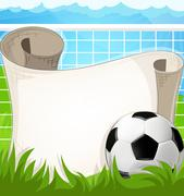 Soccer ball  with paper scroll Stock Illustration