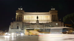 Vittoriano Altar of the Fatherland Piazza Venezia Rome night traffic timelapse Stock Footage