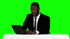 Call center operator accepts the order online and smiling. Green screen Stock Footage