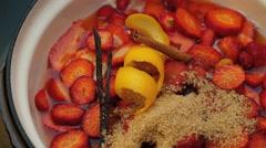 Making strawberry jam Stock Footage