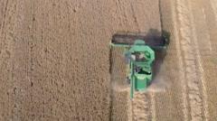 Aerial View of Grain Harvest Stock Footage